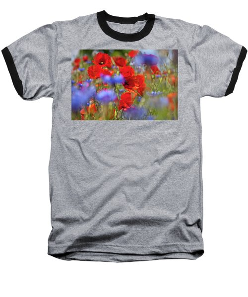 Red Poppies In The Maedow Baseball T-Shirt