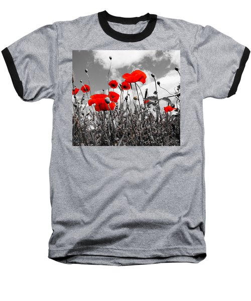 Red Poppies On Black And White Background Baseball T-Shirt