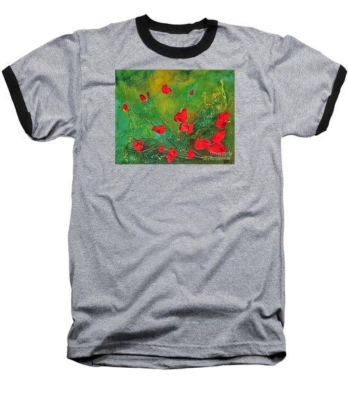 Red Poppies Baseball T-Shirt by Teresa Wegrzyn