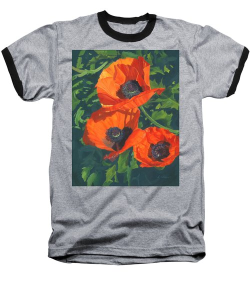 Baseball T-Shirt featuring the painting Red Poppies Three by Lynne Reichhart