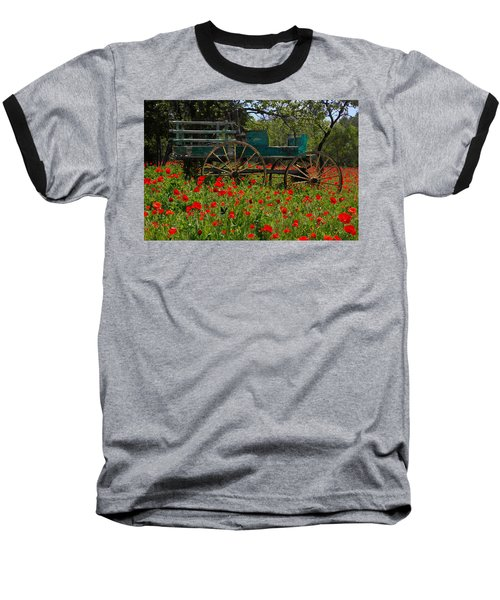 Red Poppies With Wagon Baseball T-Shirt