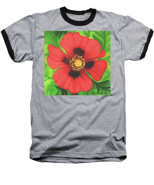 Baseball T-Shirt featuring the painting Red Poppy by Sophia Schmierer