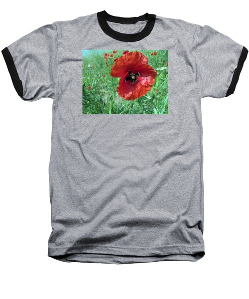 Baseball T-Shirt featuring the photograph Red Poppy by Vesna Martinjak