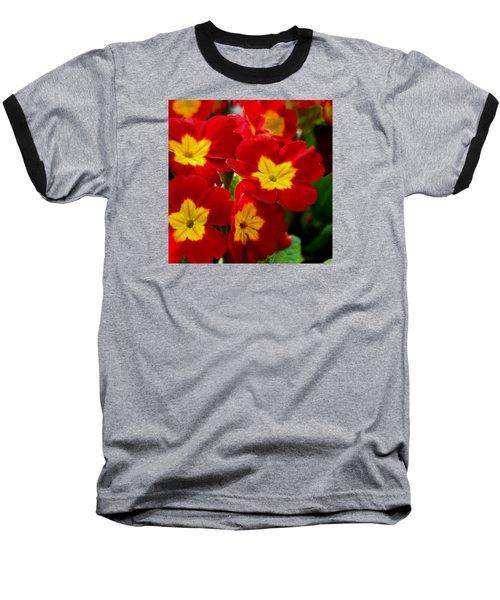 Red Primroses Baseball T-Shirt