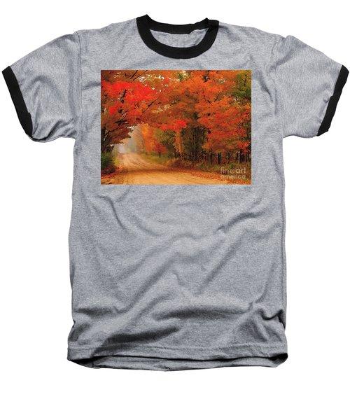 Red Red Autumn Baseball T-Shirt by Terri Gostola