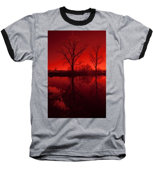 Red Reflections Baseball T-Shirt by Miguel Winterpacht