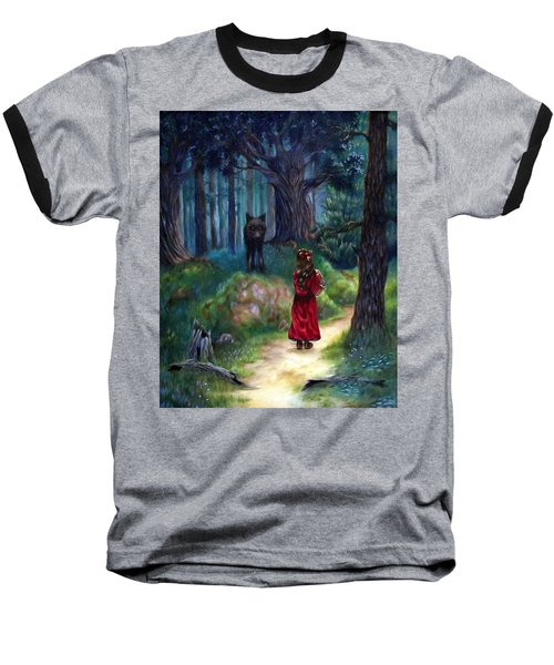 Red Riding Hood Baseball T-Shirt by Heather Calderon