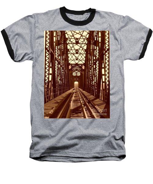 Baseball T-Shirt featuring the photograph Red River Train Bridge #1 by Robert ONeil