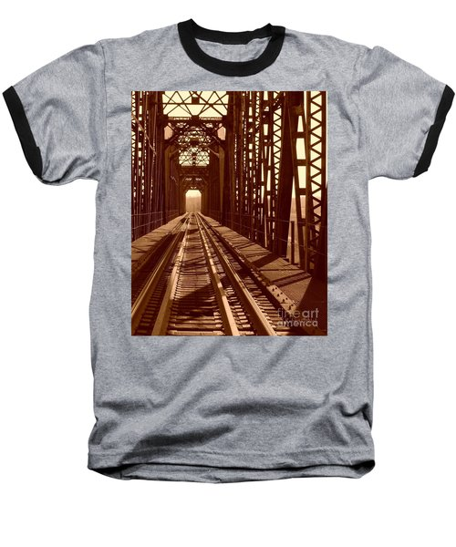 Baseball T-Shirt featuring the photograph Red River Train Bridge #2 by Robert ONeil
