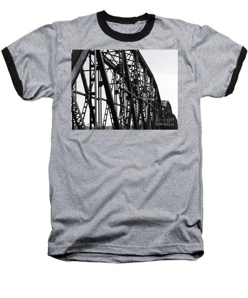 Baseball T-Shirt featuring the photograph Red River Train Bridge #4 by Robert ONeil
