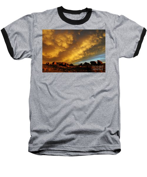 Red Rock Coulee Sunset Baseball T-Shirt by Vivian Christopher