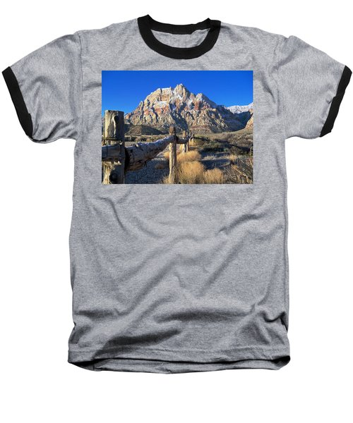 Baseball T-Shirt featuring the photograph Red Rock Snow by Alan Socolik