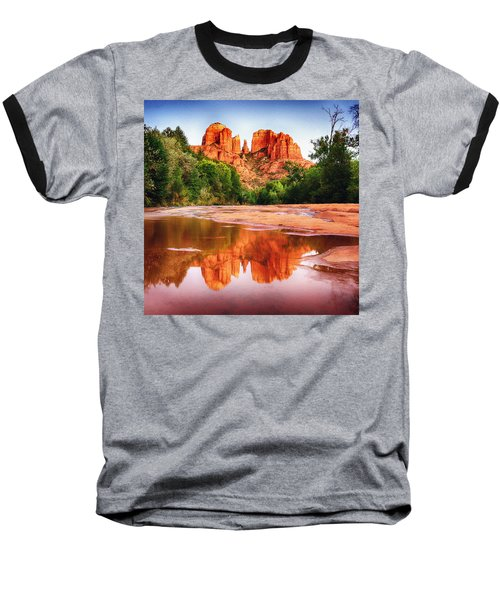 Red Rock State Park - Cathedral Rock Baseball T-Shirt by Bob and Nadine Johnston