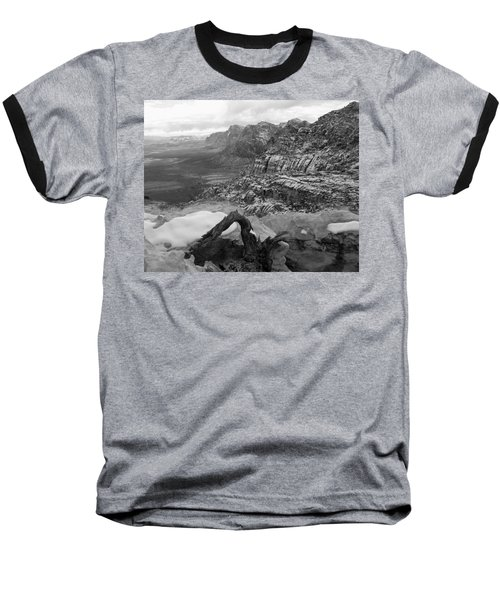 Baseball T-Shirt featuring the photograph Red Rock Winter by Alan Socolik
