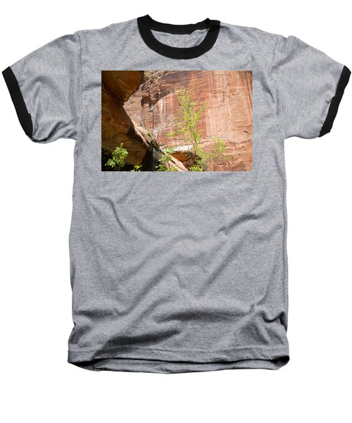 Red Rock With Waterfall Baseball T-Shirt