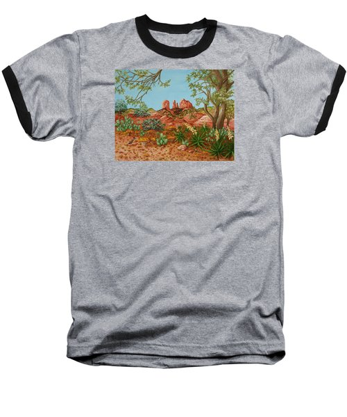 Baseball T-Shirt featuring the painting Landscapes Desert Red Rocks Of Sedona Arizona by Katherine Young-Beck