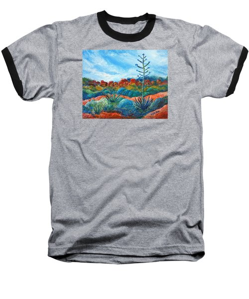 Baseball T-Shirt featuring the painting Red Rocks by Victoria Lakes