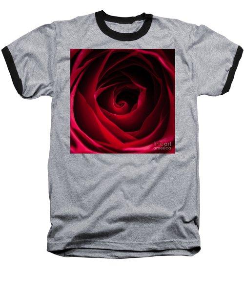 Red Rose Square Baseball T-Shirt by Matt Malloy