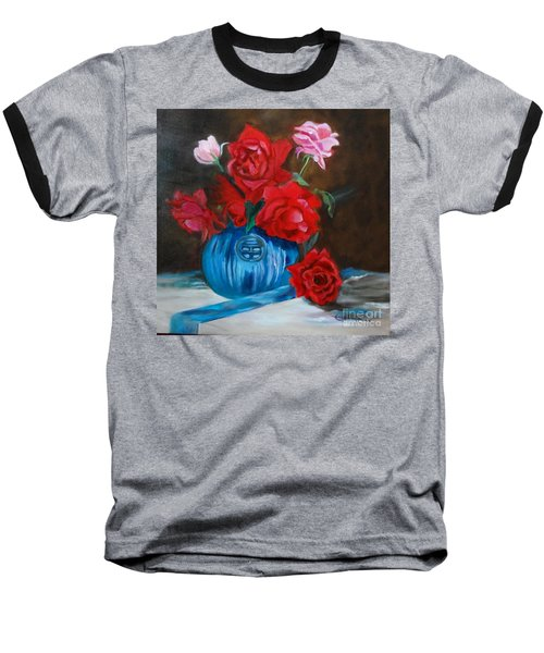 Baseball T-Shirt featuring the painting Red Roses And Blue Vase by Jenny Lee
