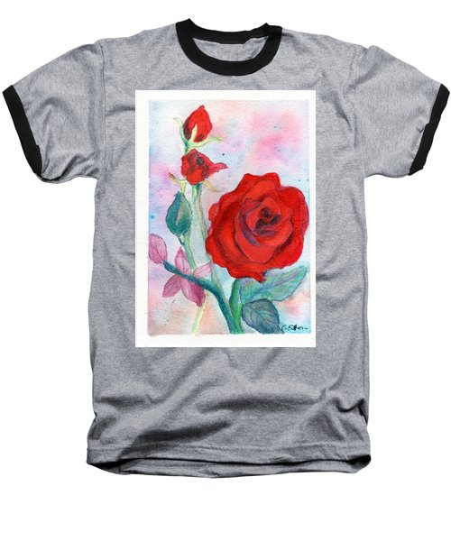 Red Roses Baseball T-Shirt by C Sitton