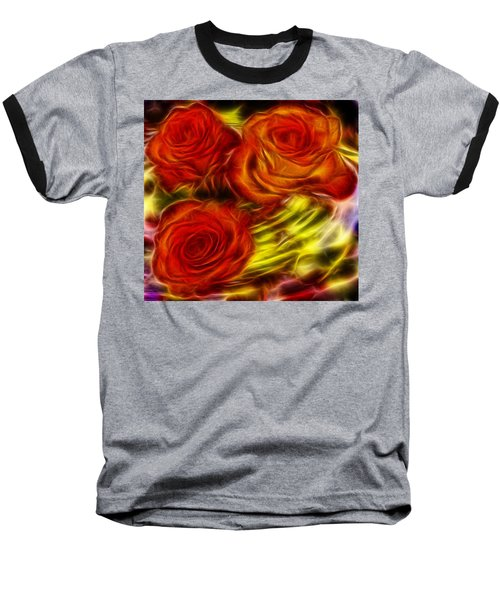 Baseball T-Shirt featuring the painting Red Roses In Water - Fractal  by Lilia D