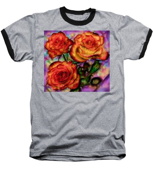 Baseball T-Shirt featuring the digital art Red Roses In Water - Silk Edition by Lilia D