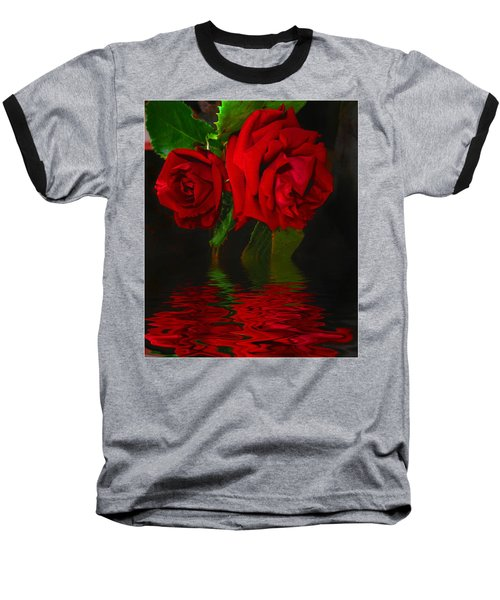 Red Roses Reflected Baseball T-Shirt by Joyce Dickens