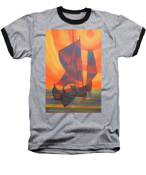 Baseball T-Shirt featuring the painting Red Sails In The Sunset by Tracey Harrington-Simpson