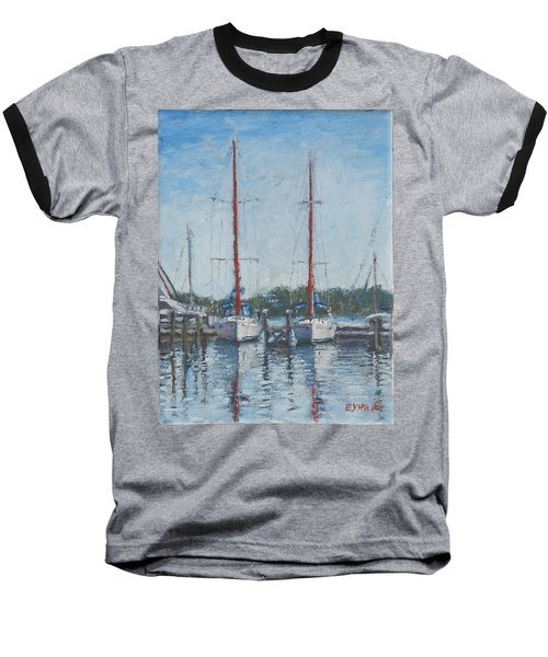 Red Sails Under Gray Sky Baseball T-Shirt