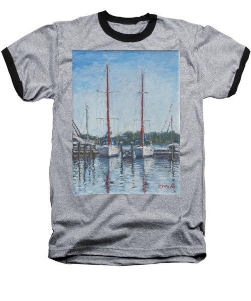 Red Sails Under Gray Sky Baseball T-Shirt