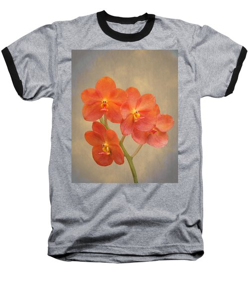 Red Scarlet Orchid On Grunge Baseball T-Shirt