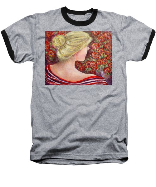 Baseball T-Shirt featuring the painting Red Scented Roses by Natalie Holland