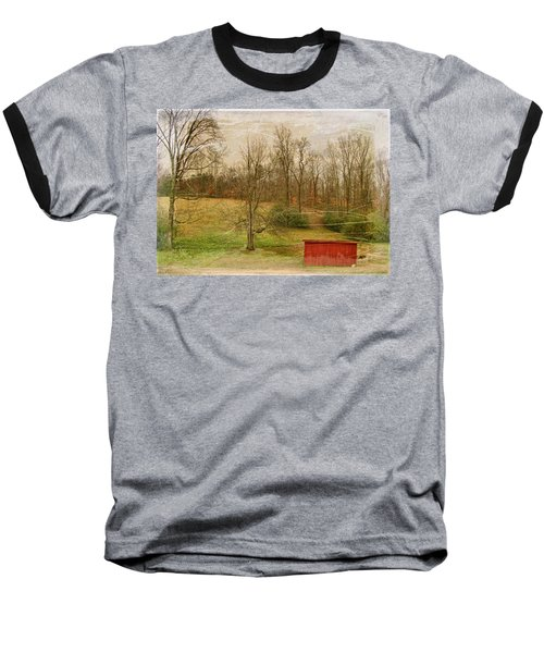 Red Shed Baseball T-Shirt by Paulette B Wright
