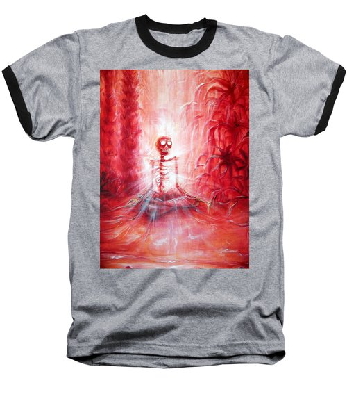 Red Skeleton Meditation Baseball T-Shirt