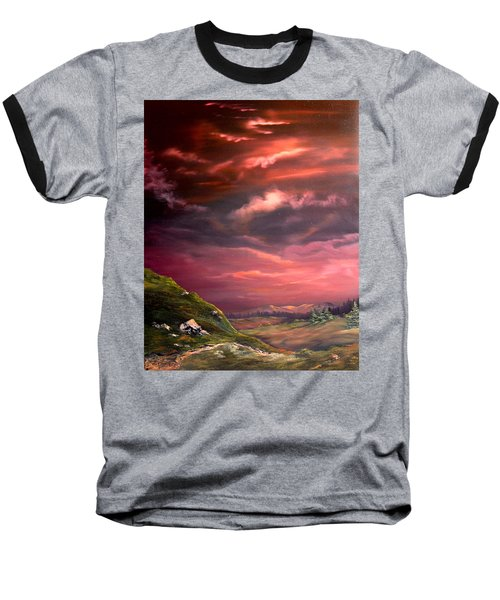Red Sky At Night Baseball T-Shirt by Jean Walker