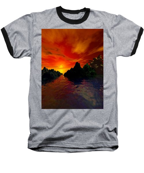 Baseball T-Shirt featuring the digital art Red Sky by Kim Prowse