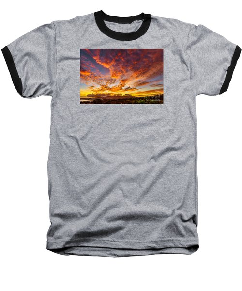 Baseball T-Shirt featuring the photograph Red Sunset Behind The Waianae Mountain Range by Aloha Art