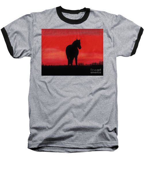 Red Sunset Horse Baseball T-Shirt