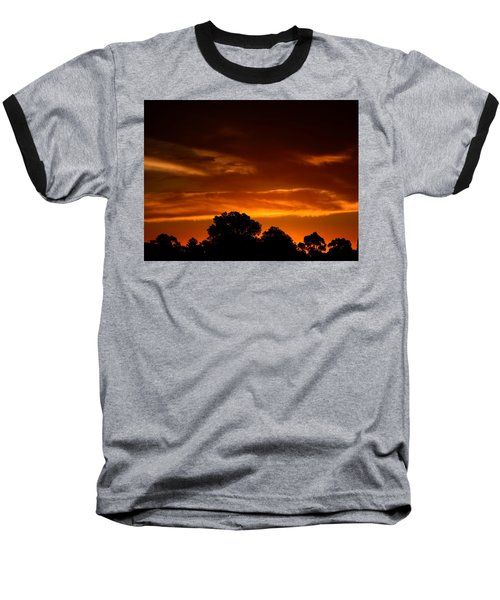 Red Sunset Baseball T-Shirt by Mark Blauhoefer