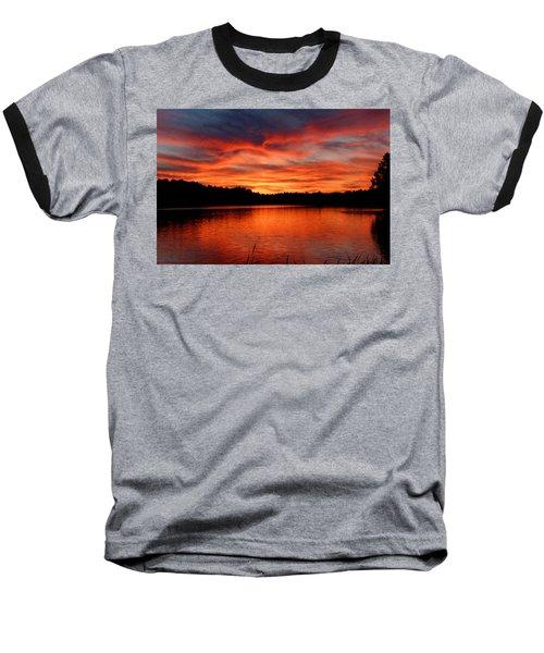 Red Sunset Reflections Baseball T-Shirt