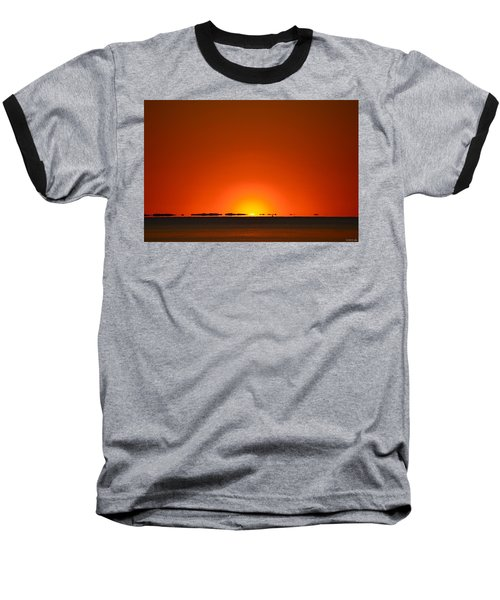 Red Sunset With Superior Mirage On Santa Rosa Sound Baseball T-Shirt by Jeff at JSJ Photography