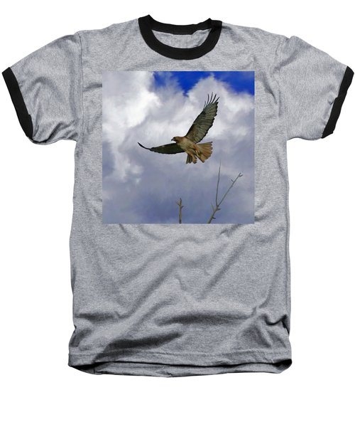 Red Tail Hawk Digital Freehand Painting 1 Baseball T-Shirt