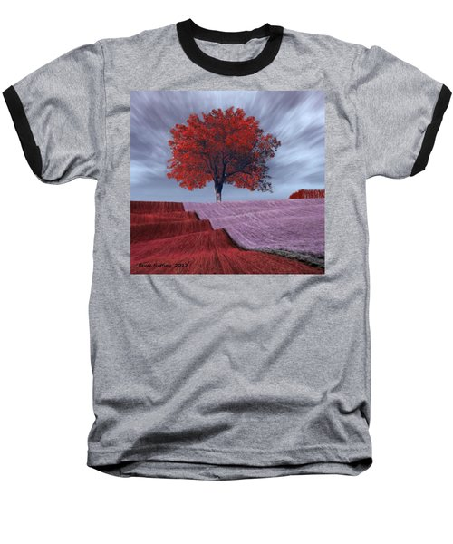 Baseball T-Shirt featuring the painting Red Tree In A Field by Bruce Nutting