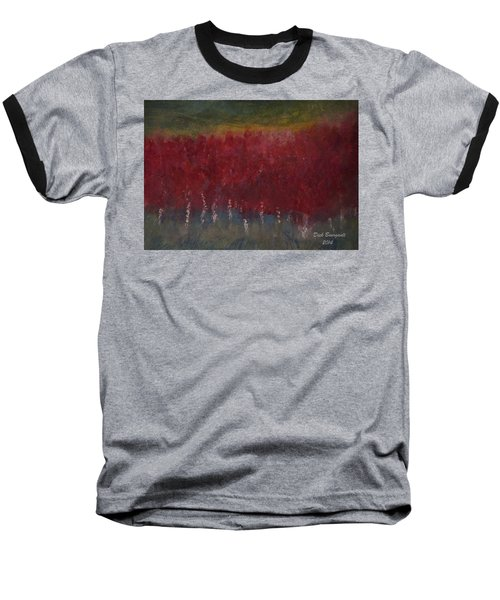 Red Trees Watercolor Baseball T-Shirt by Dick Bourgault