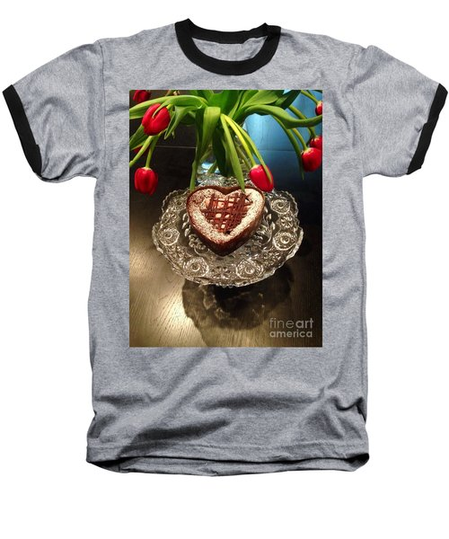 Red Tulip And Chocolate Heart Dessert Baseball T-Shirt