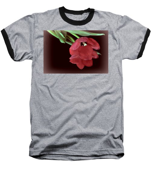 Red Tulip On Burgundy Baseball T-Shirt