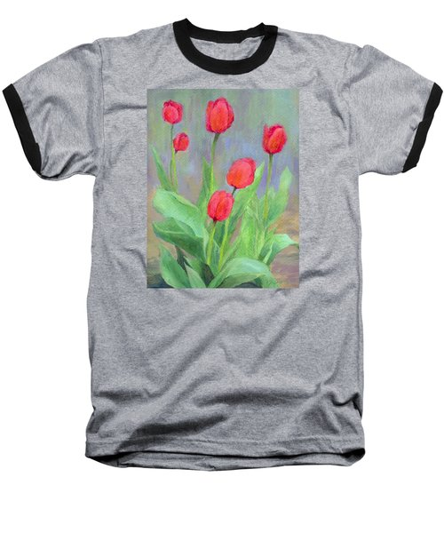 Red Tulips Colorful Painting Of Flowers By K. Joann Russell Baseball T-Shirt by Elizabeth Sawyer