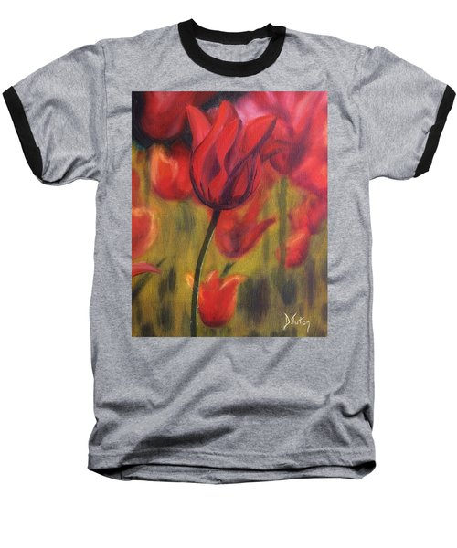 Baseball T-Shirt featuring the painting Red Tulips by Donna Tuten