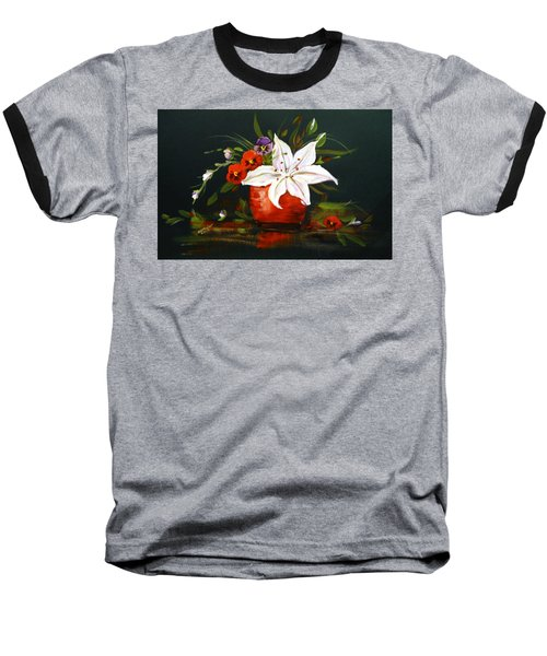 Red Vase With Lily And Pansies Baseball T-Shirt by Dorothy Maier