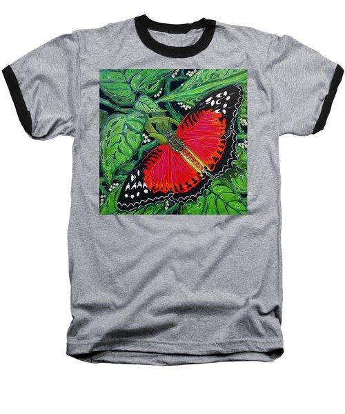 Red Butterfly Baseball T-Shirt